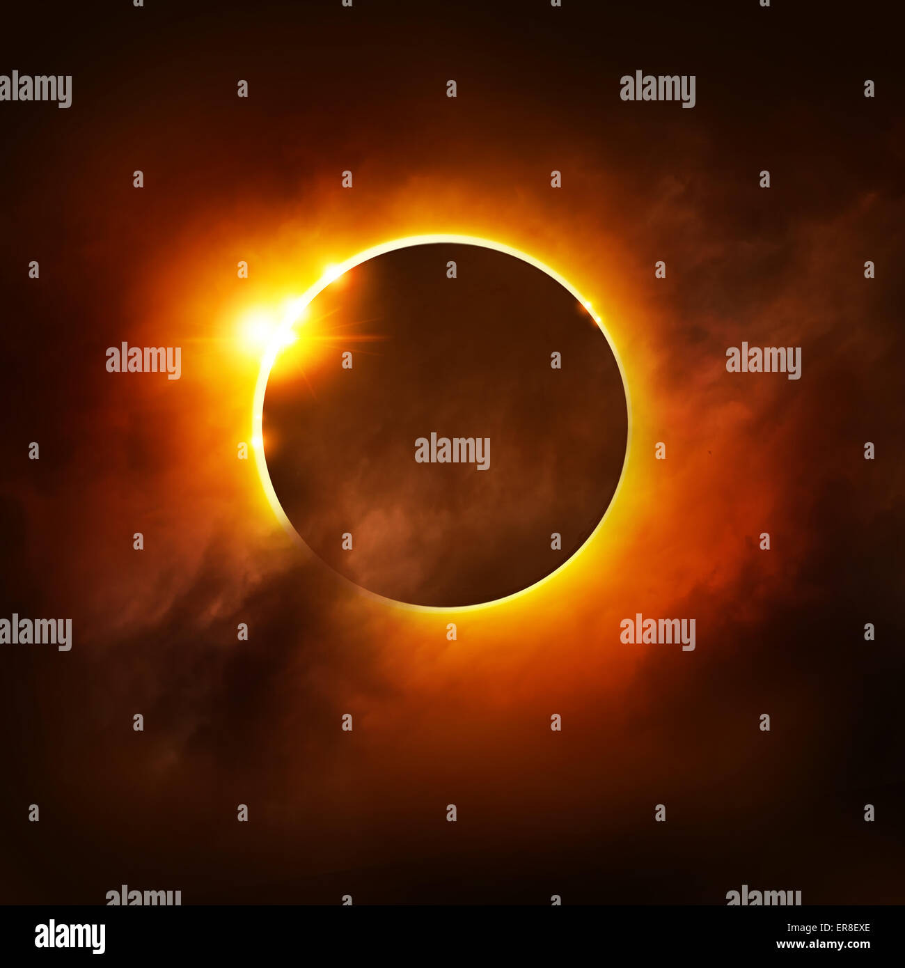 A Total Eclipse of the Sun. Illustration. - Stock Image
