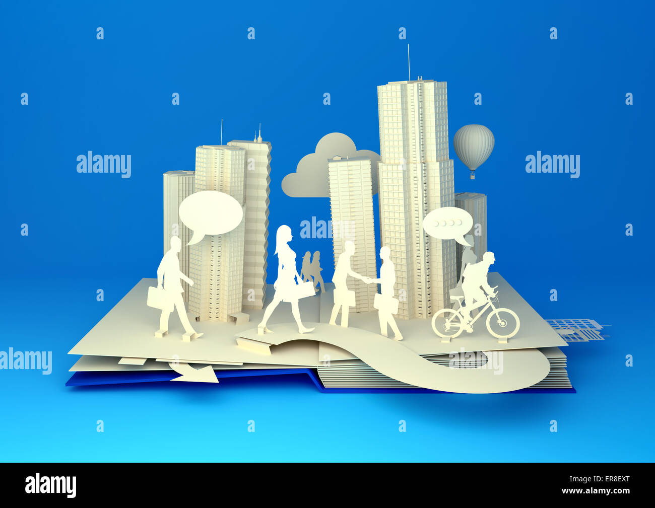 Pop-Up Book - City Lifestyle. Styled 3D pop-up book city with busy urban city people going about their business. - Stock Image