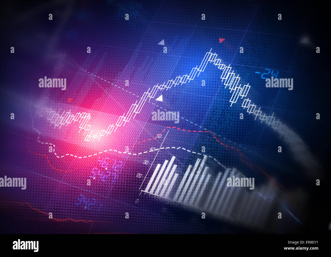 Stock Market Data. Candle stick stock market tracking graph. - Stock Image