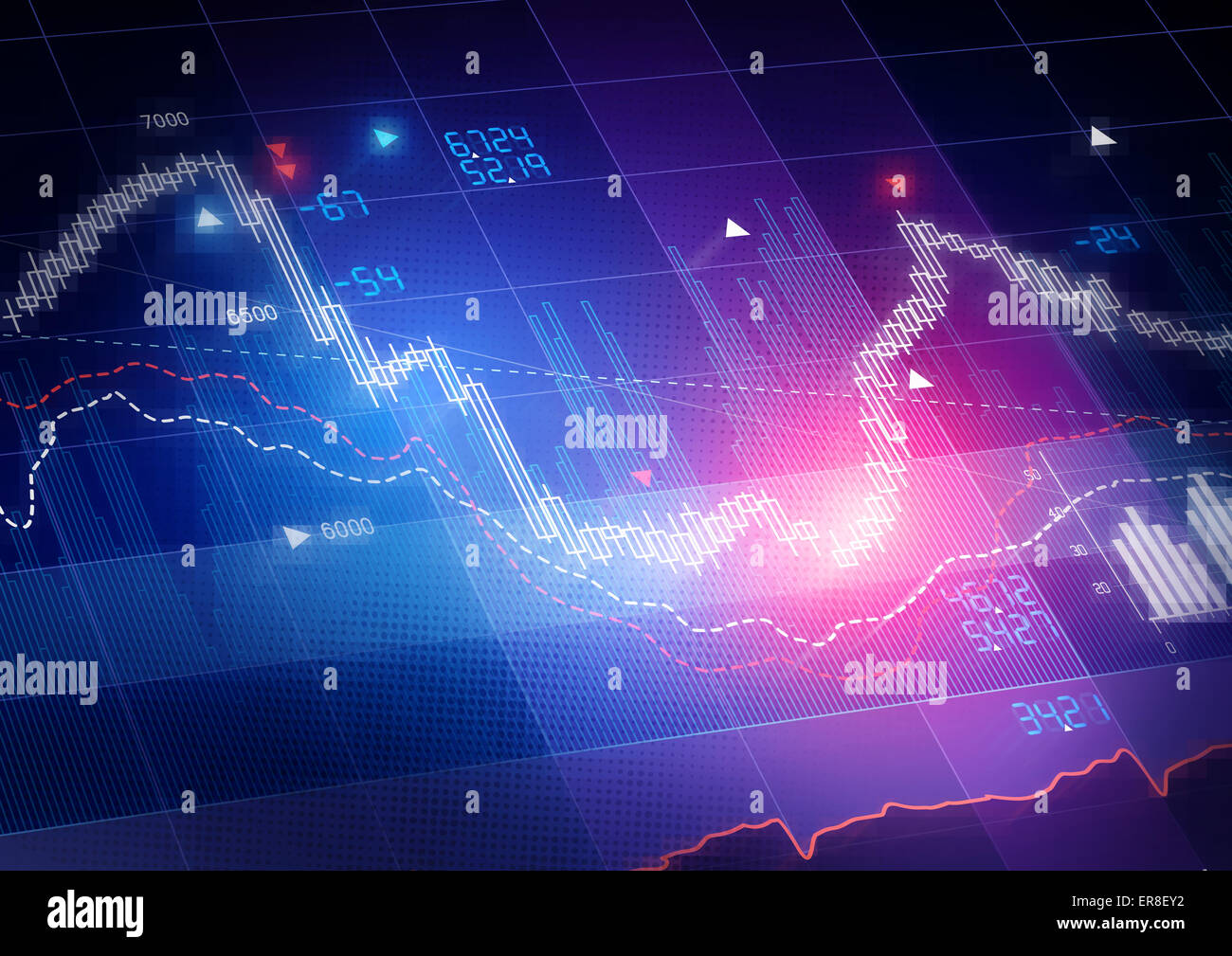 Stock Market Prices. Candle stick stock market tracking graph. - Stock Image