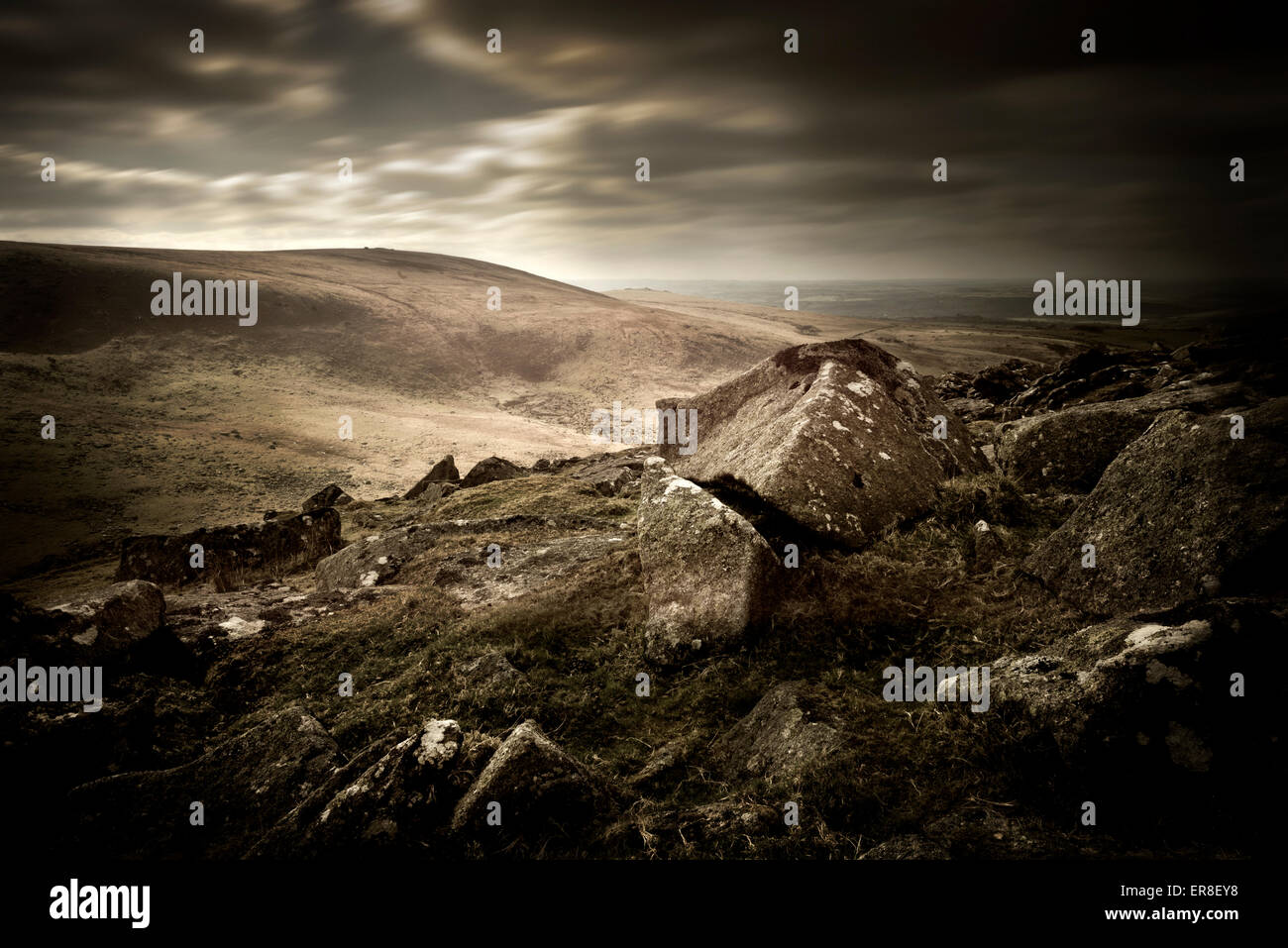 A dark and moody Moorland landscape. - Stock Image