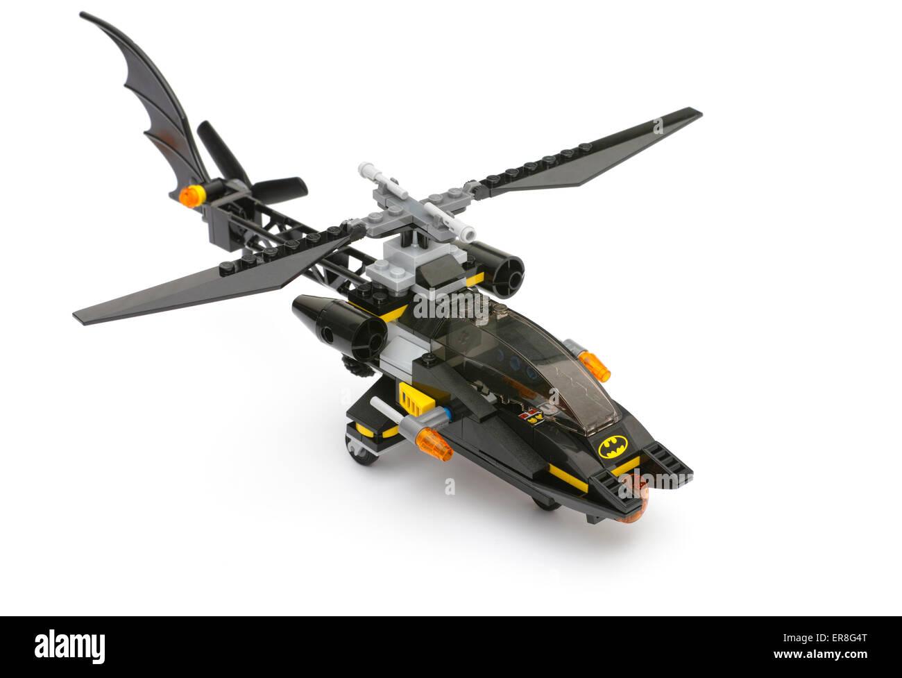 Tambov, Russian Federation - May 27, 2015 Lego Batcopter on white background. Studio shot. - Stock Image