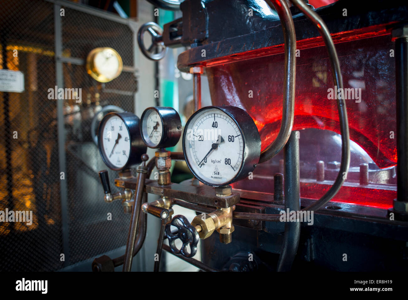 Dials and gauges in a power station - Stock Image