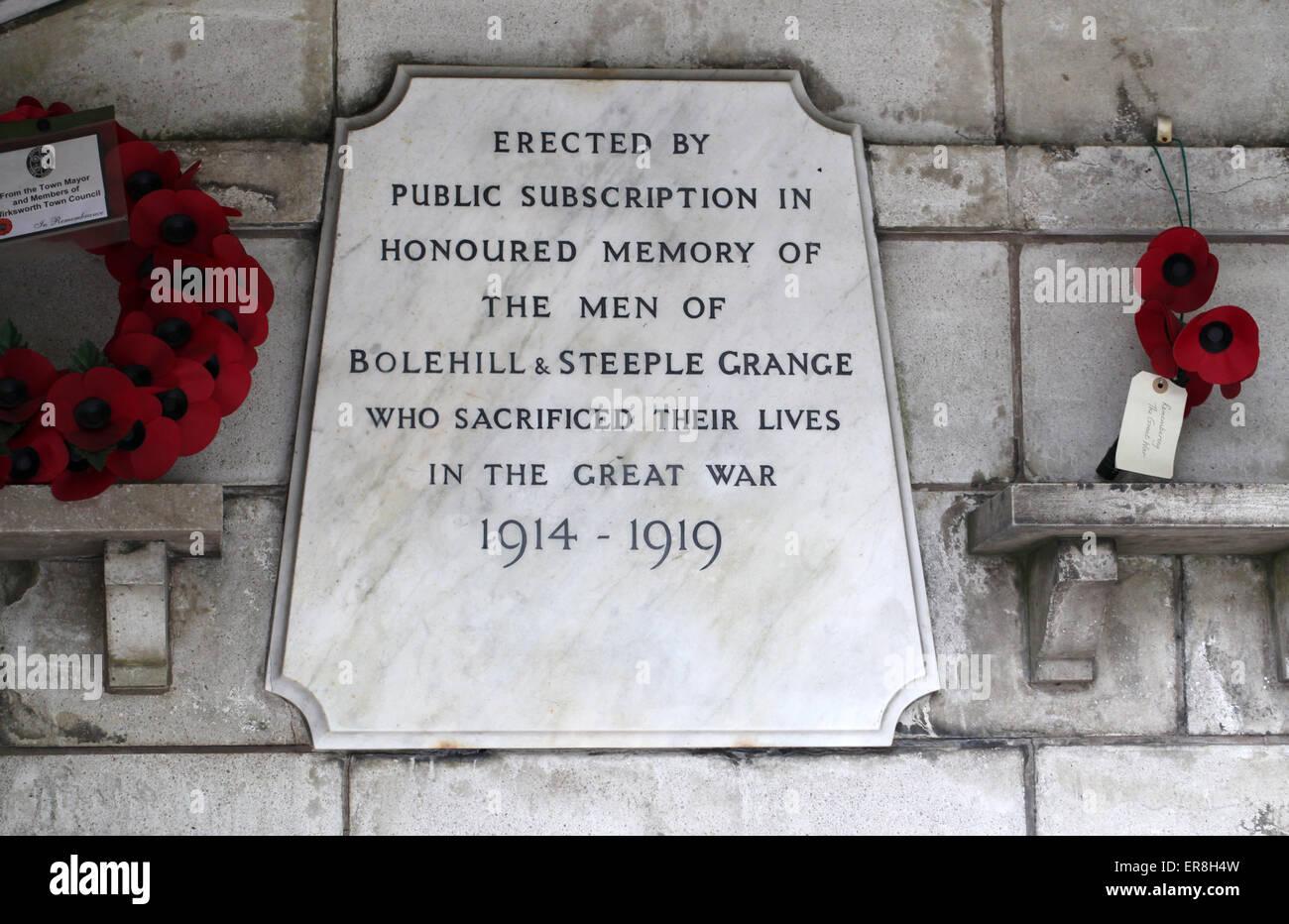 Bolehill and Steeple Grange War Memorial Plaque at Wirksworth - Stock Image