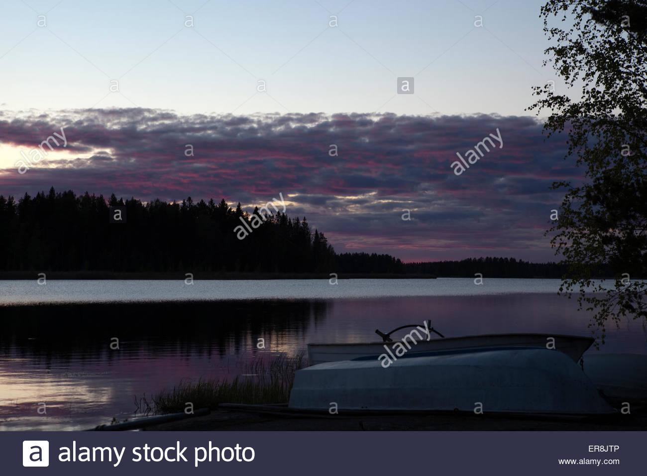 A peaceful spring night at the lake Koskeljärvi - Stock Image