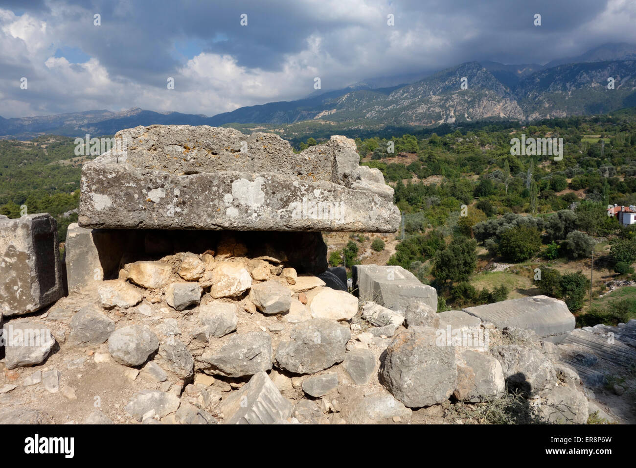 Part of the fortified wall at the north side of the ancient city of Tlos, Turkey - Stock Image