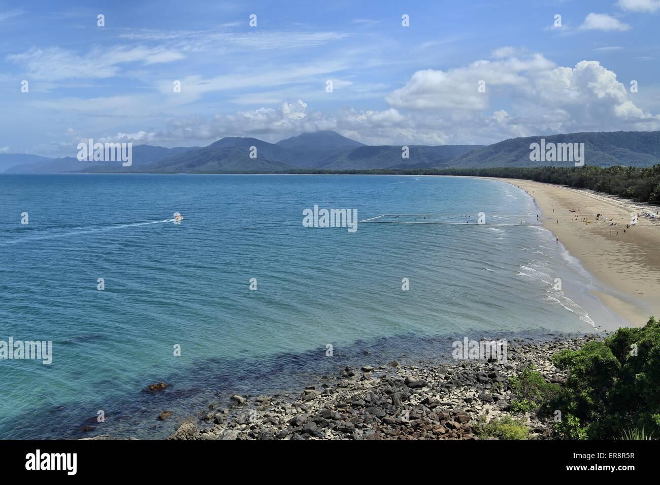 The beautiful sandy Four Mile Beach at Port Douglas, Queensland, Australia - Stock Image