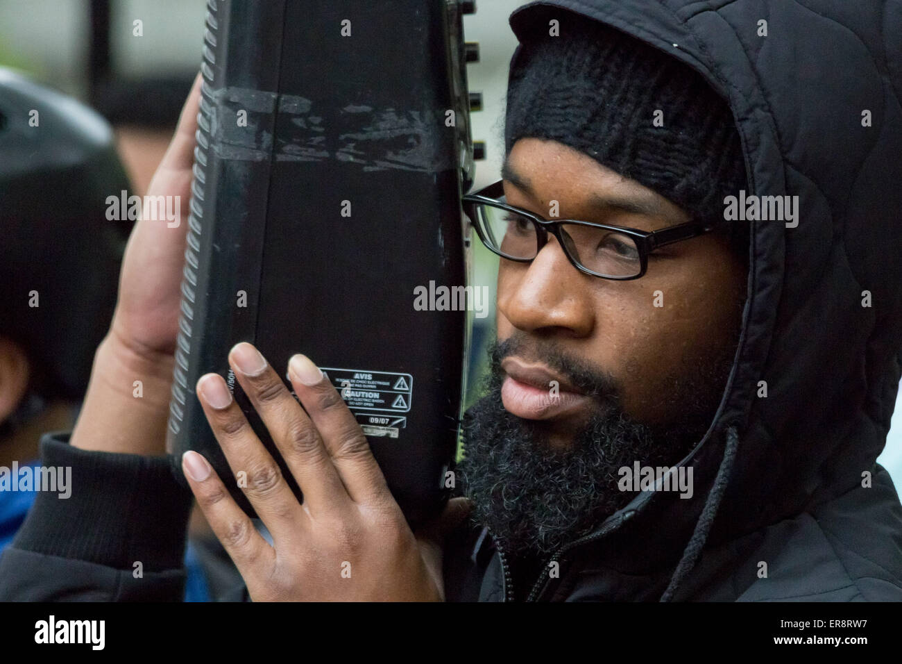 London, UK. 29th May, 2015. Islamist Ricardo McFarlane at a protest responce to the Queen's Speech Credit:  Guy - Stock Image