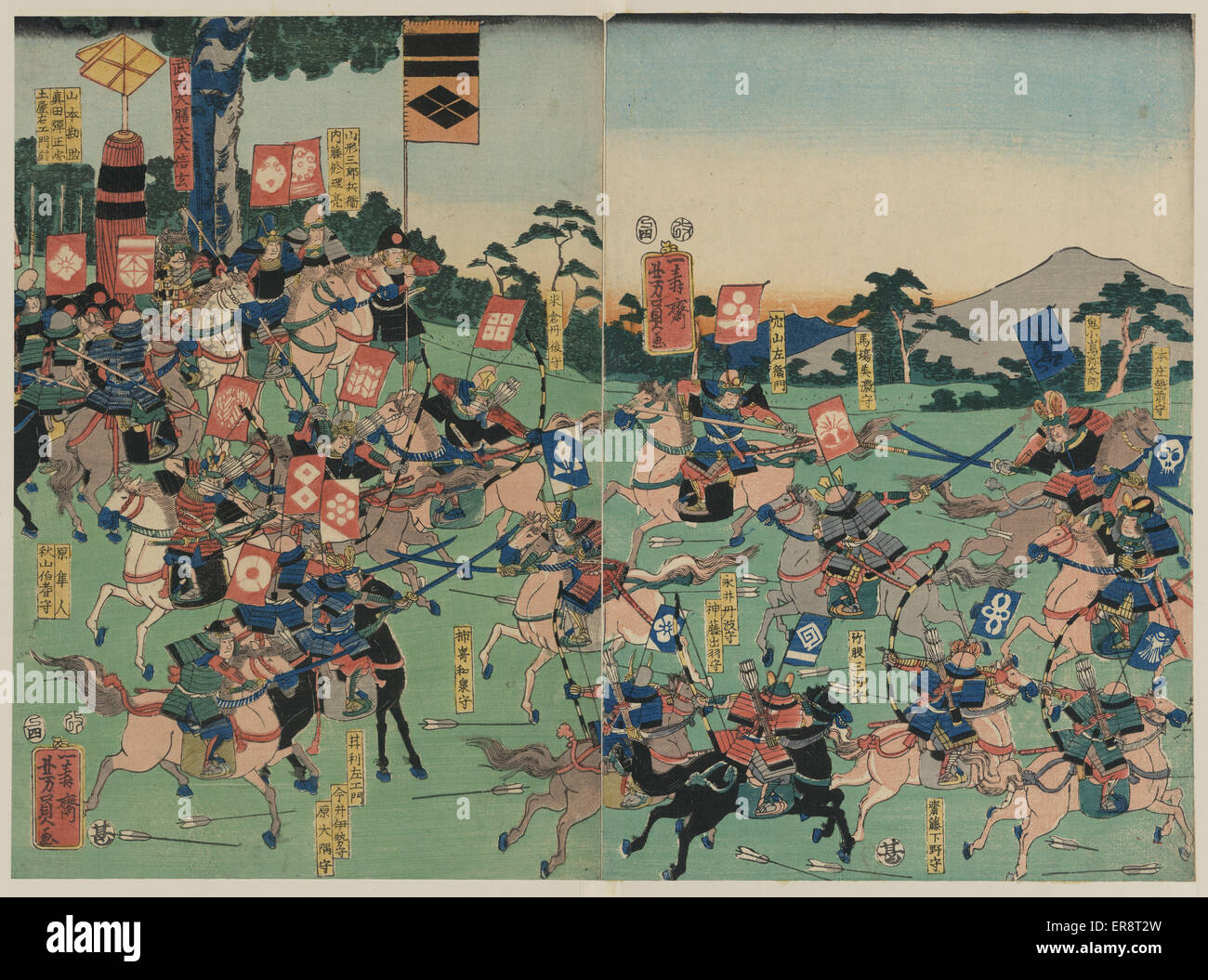 Battle at Kawanakajima. Print shows two armies of cavalry engaged in a battle with swordsmen and archers on horseback. - Stock Image