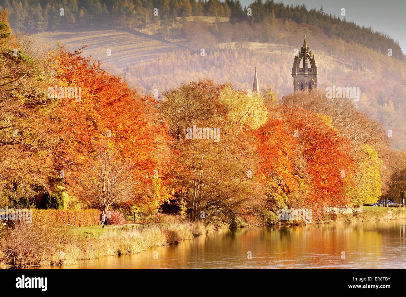 The River Tweed at Peebles, Scottish Borders - Stock Image