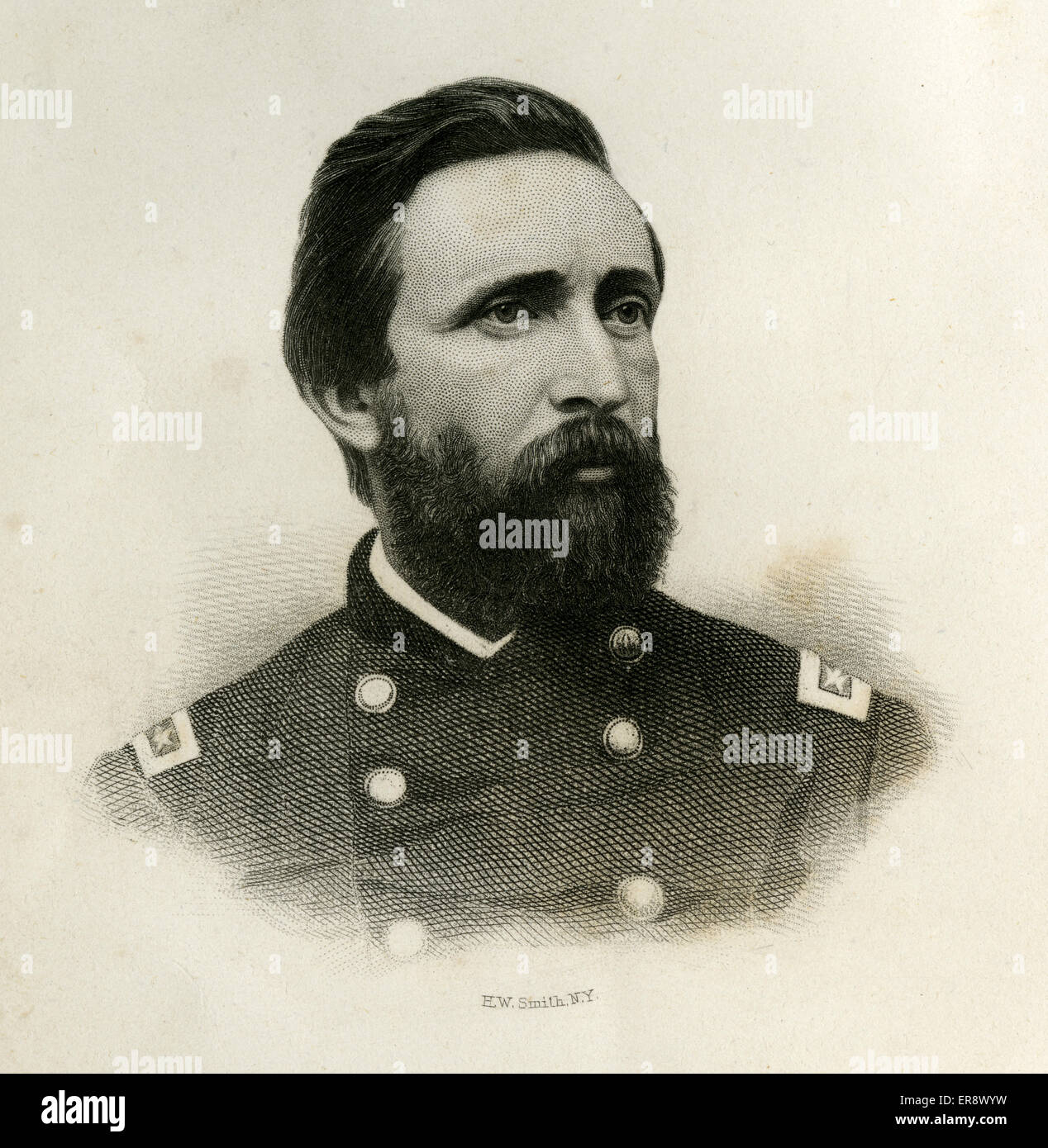 Antique 1866 engraving, Major General Charles Henry Smith, of the 1st Maine Volunteer Cavalry Regiment. - Stock Image