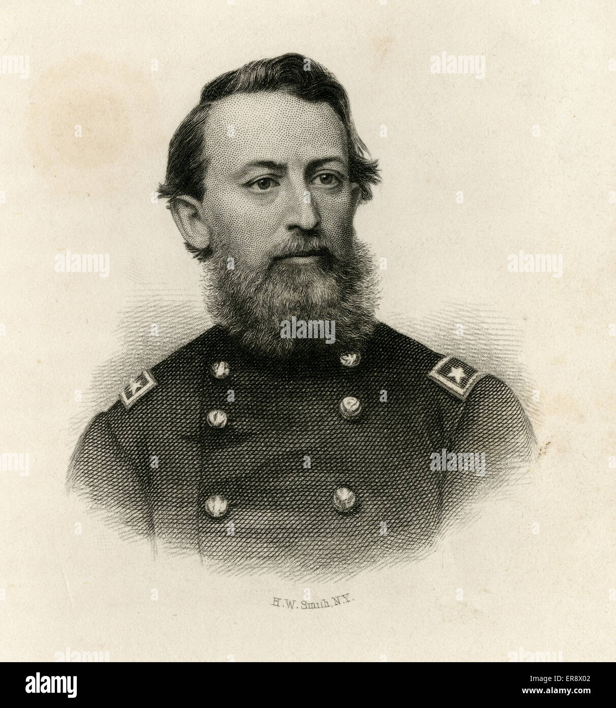 Antique 1866 engraving, Brigadier General Jonathan Prince Cilley, of the 1st Maine Volunteer Cavalry Regiment. - Stock Image