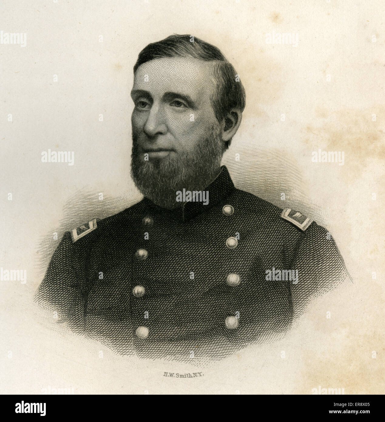 Antique 1866 engraving, Lieutenant Colonel Calvin S. Douty, of the 1st Maine Volunteer Cavalry Regiment. - Stock Image