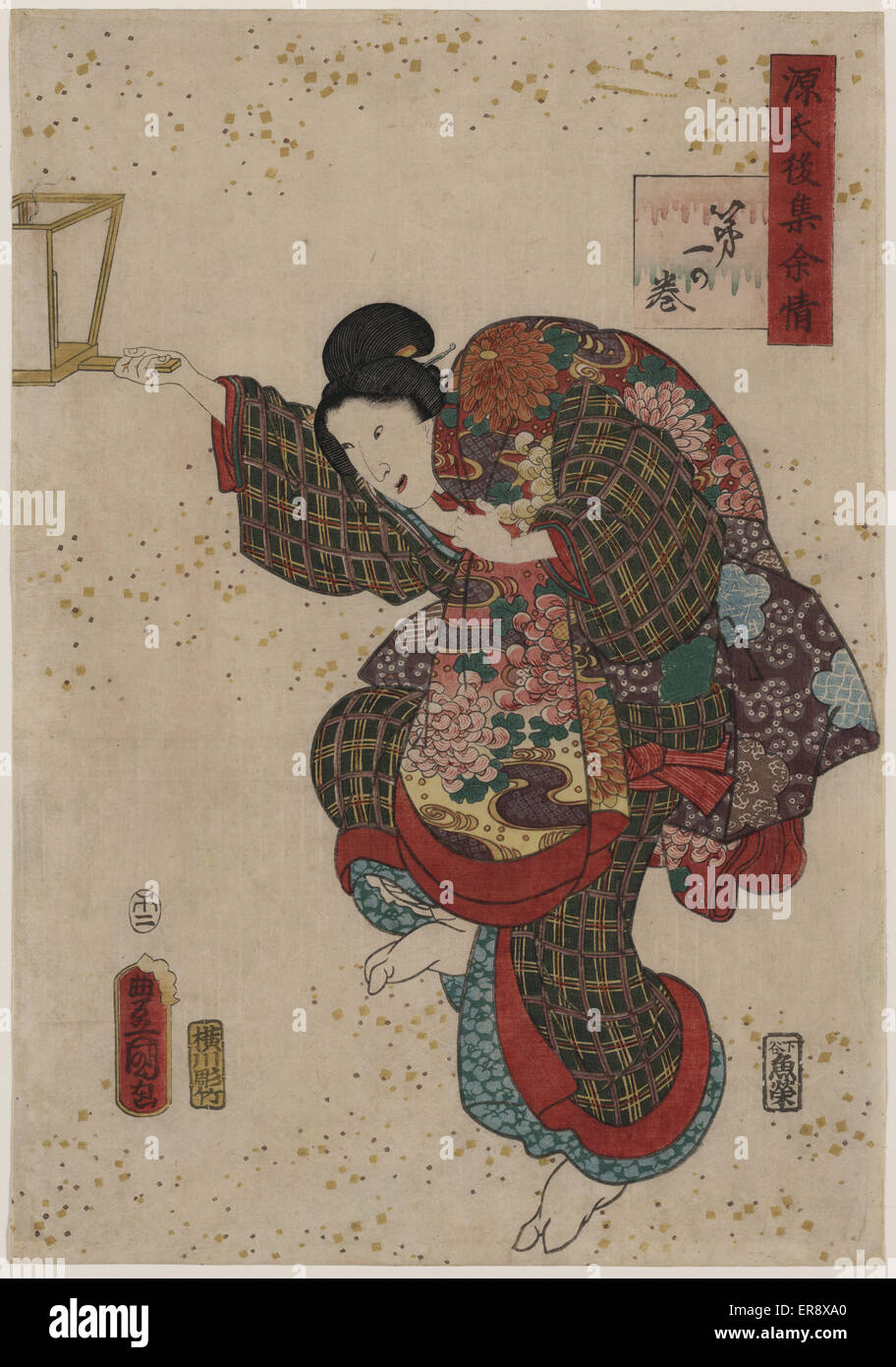 Volume one. Print shows a person, possibly Kiritsubo, holding a lantern in right hand and a blanket over left shoulder. - Stock Image