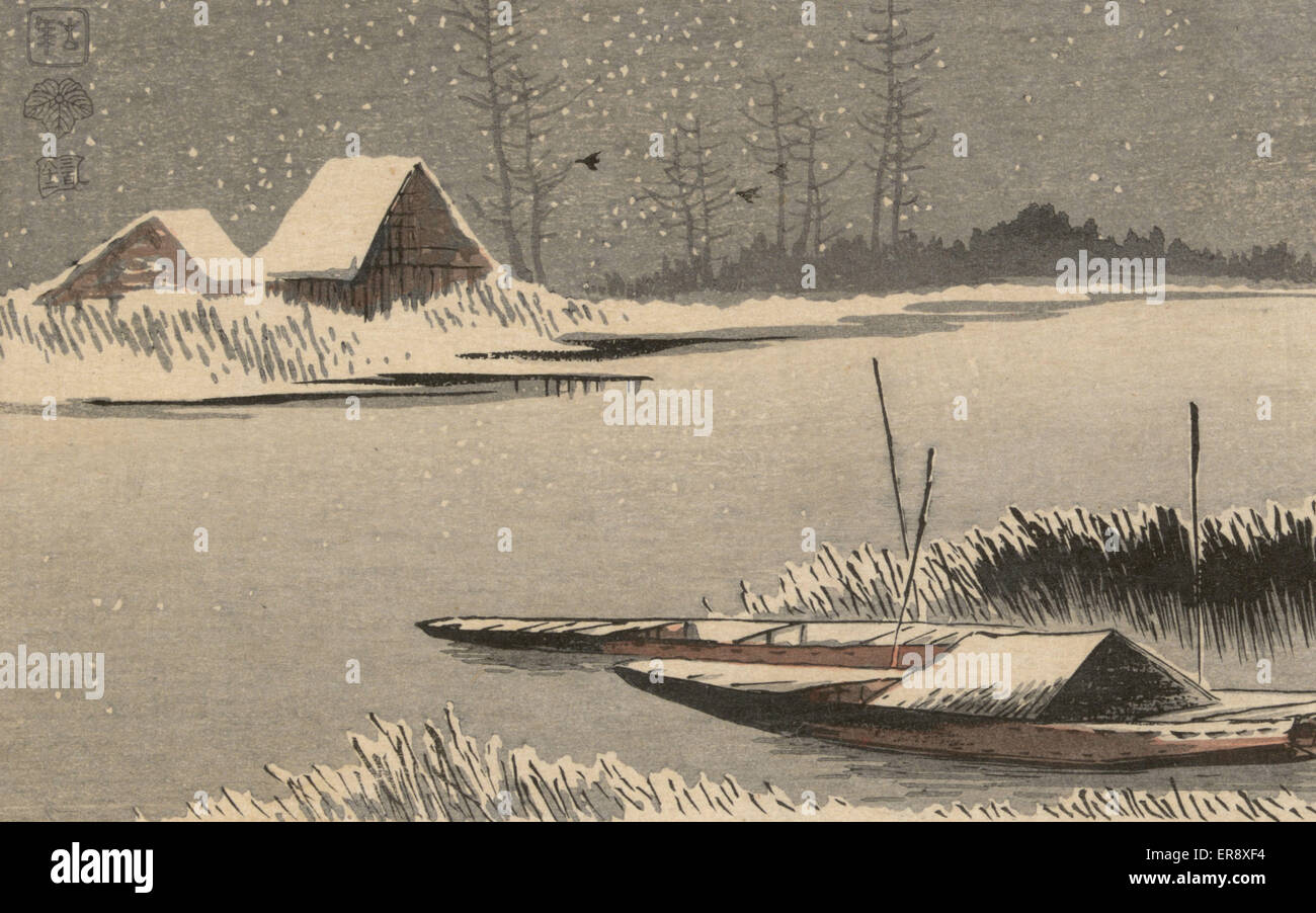 Ferryboats in snow. Print shows two small boats moored among reeds on the edge of a river during a snow storm. Date - Stock Image