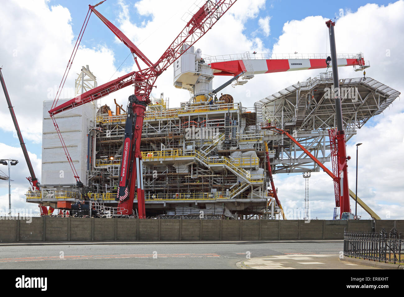 The top section of a new oil production platform nears completion on the dockside in Harlepool, UK. - Stock Image