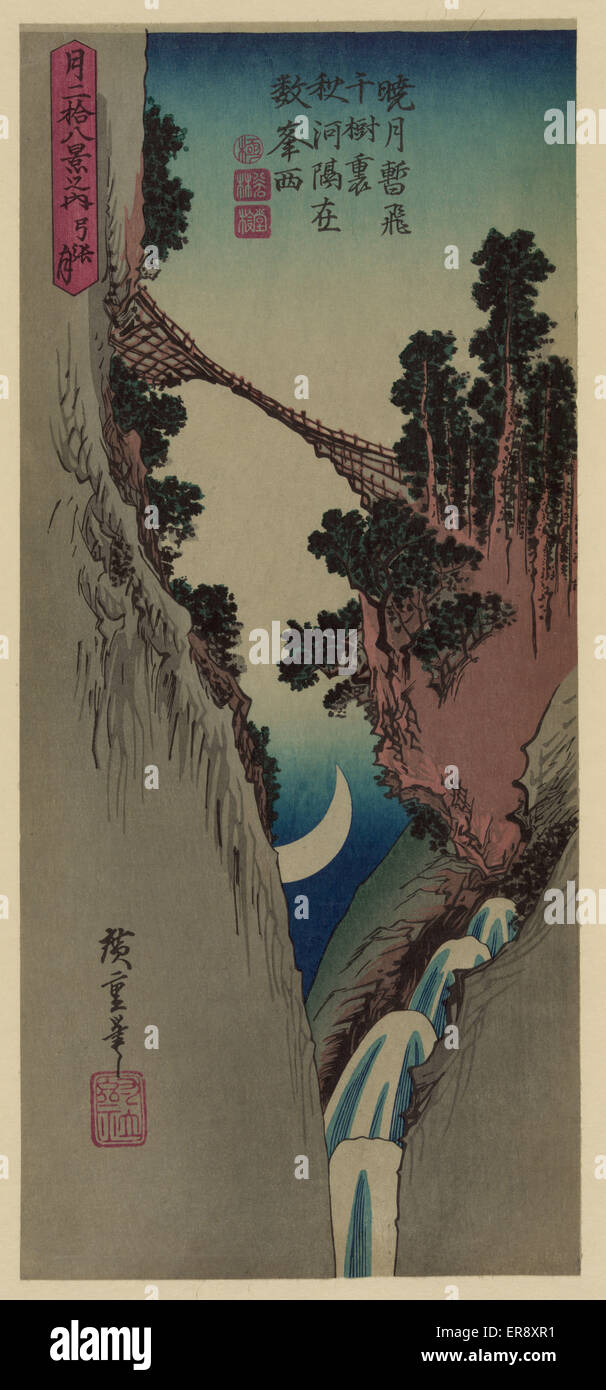 Bow shaped moon. Print shows a bridge spanning a steep canyon with a crescent moon visible between the canyon walls. - Stock Image