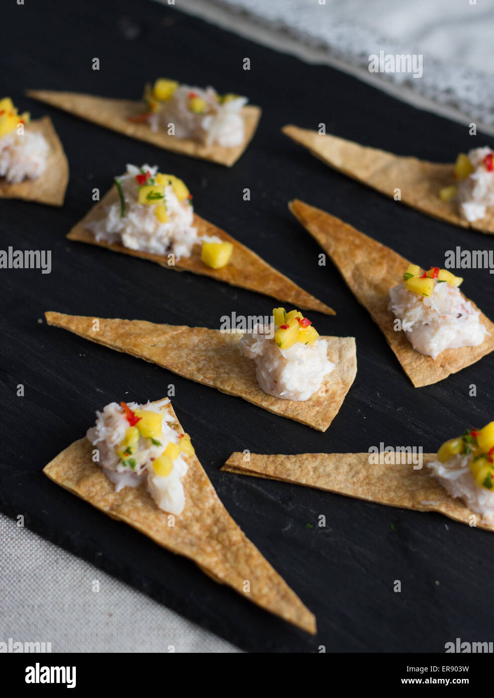 Crab and pepper canapes - Stock Image