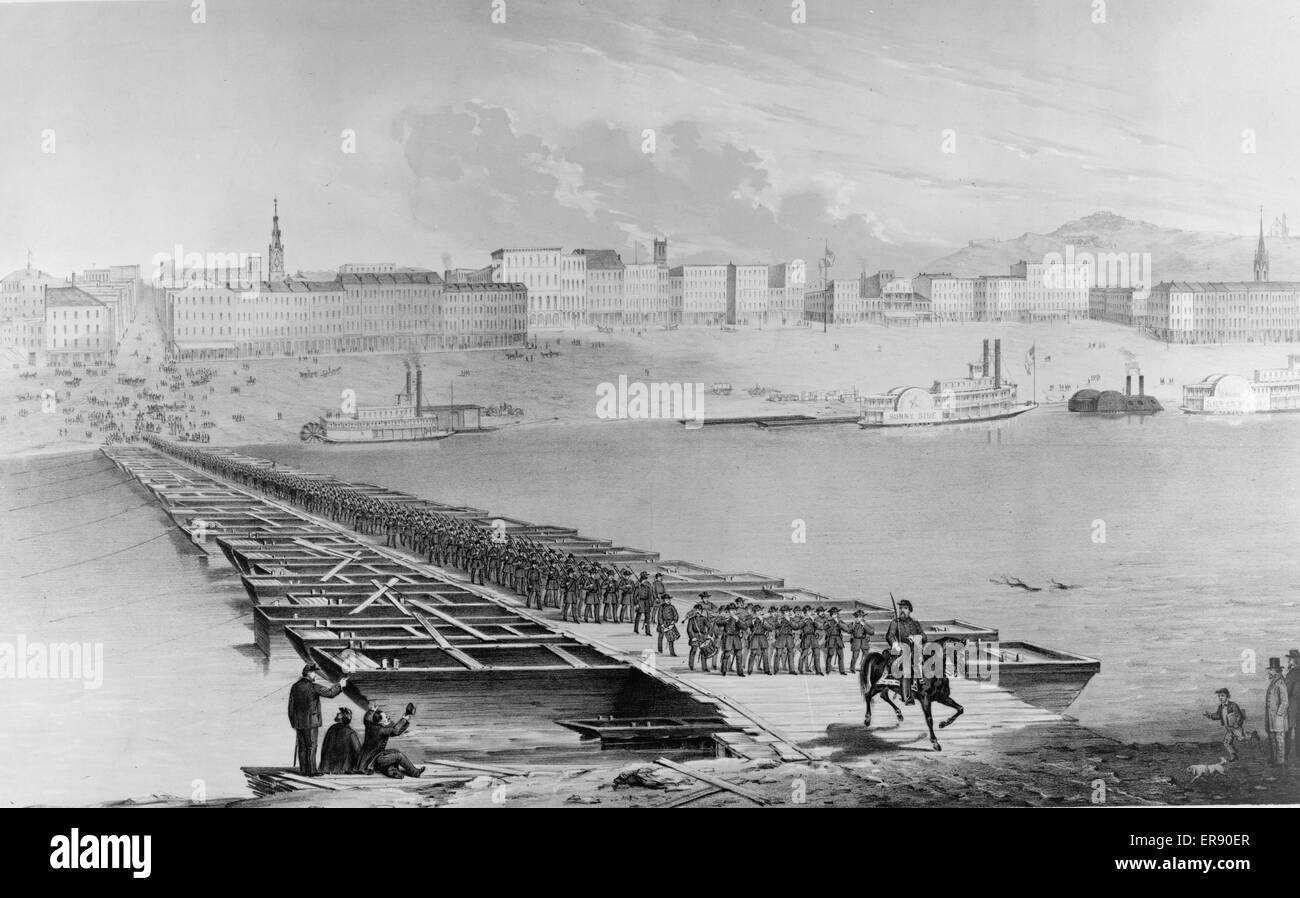 The 21st Reg't Wisconsin Vol., crossing the pontoon bridge, at Cincinnati, Saturday, Sept. 13, 1862. Print showing - Stock Image