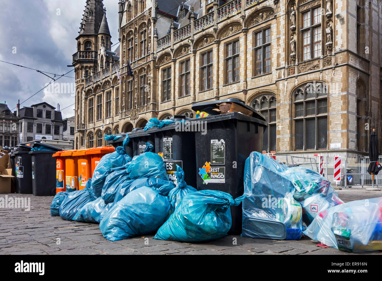 Rubbish bags and garbage containers with piled up household refuse due to strike by waste processing firm IVAGO, - Stock Image