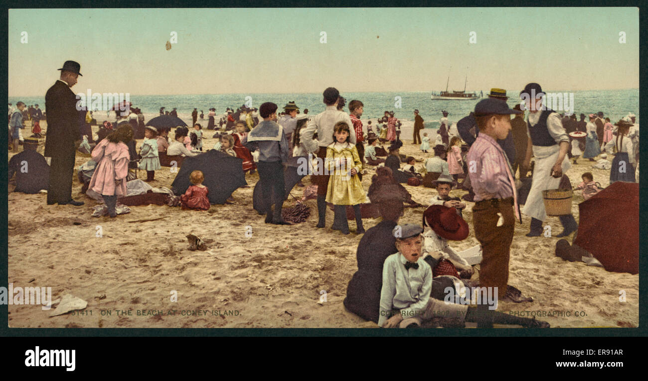 On the beach at Coney Island. Date c1902. - Stock Image