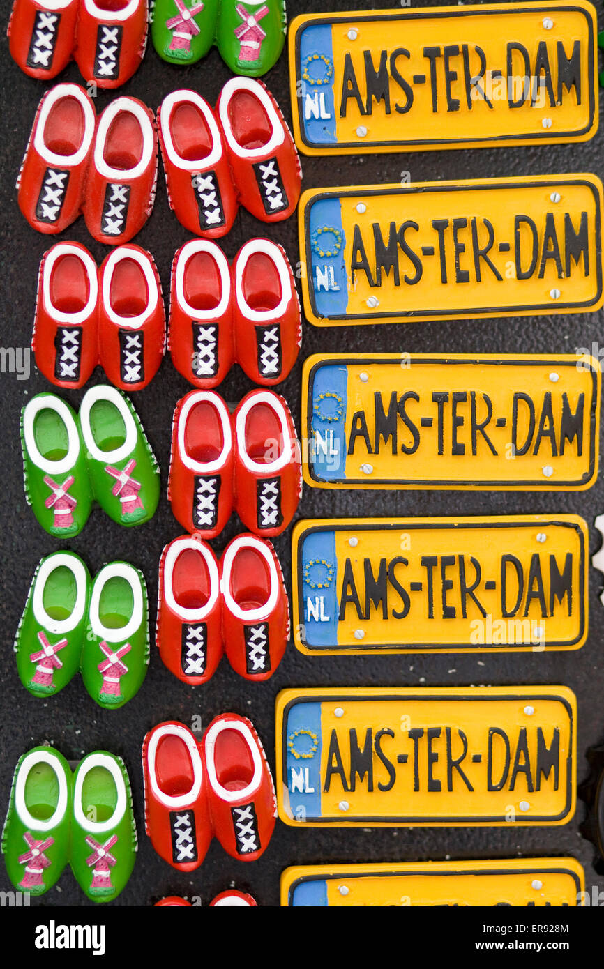 Fridge Magnets of Traditional Dutch clogs and Amsterdam Number plates - Stock Image