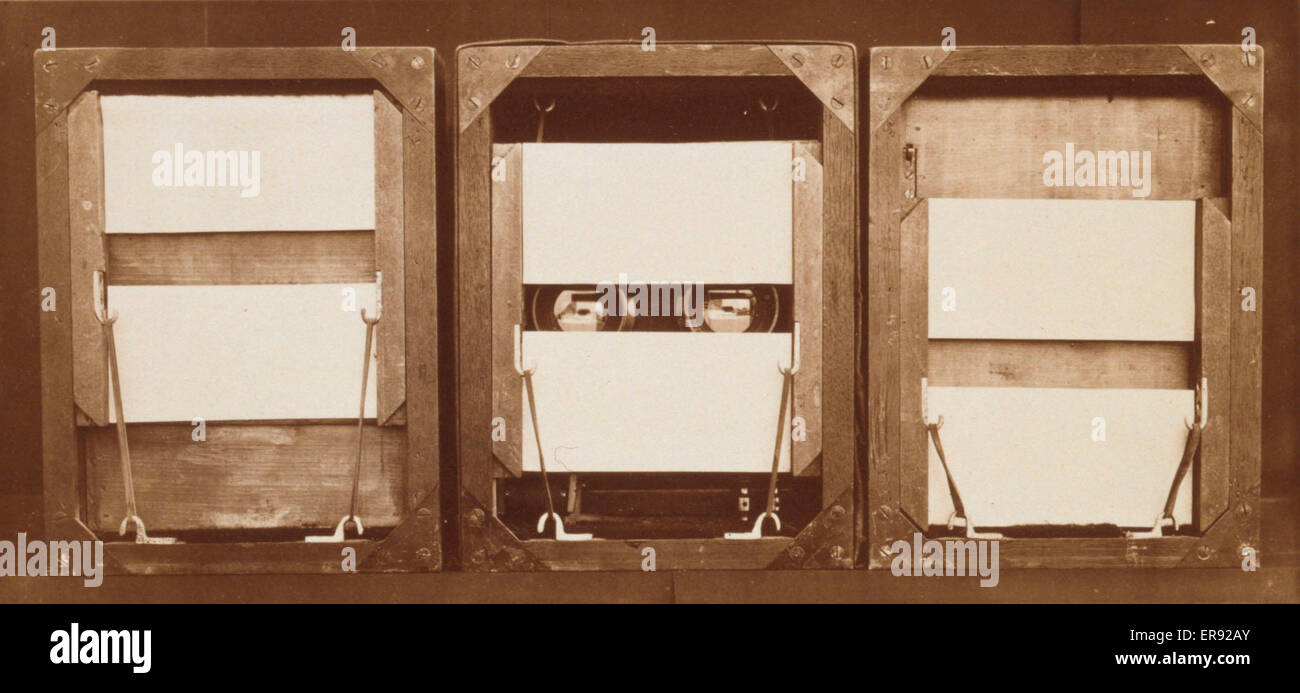 Front of electro-shutters, with positions of panels before, during, and after exposure. Date c1881. Stock Photo