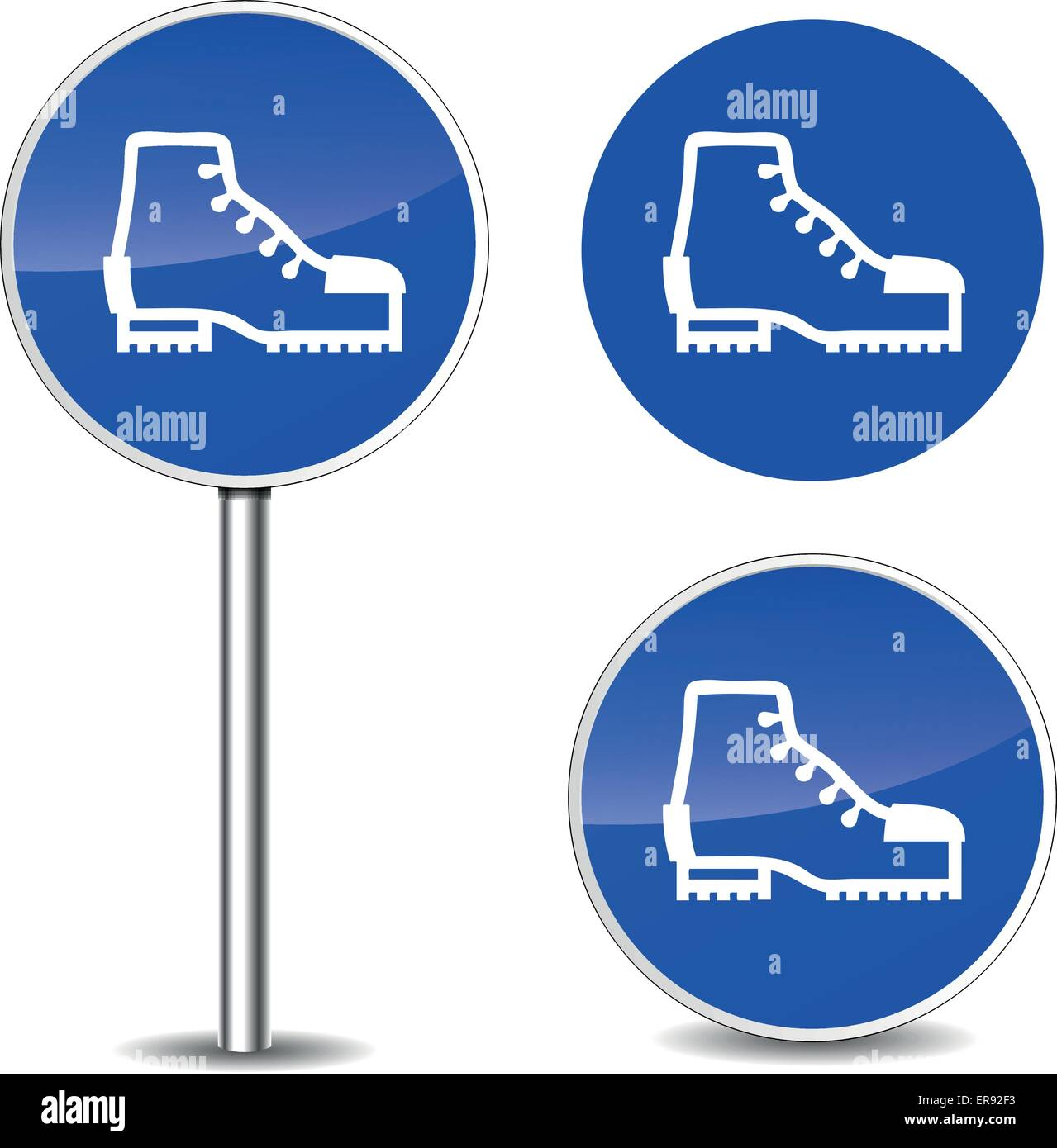 Vector illustration of safety shoes blue sign icons Stock Vector