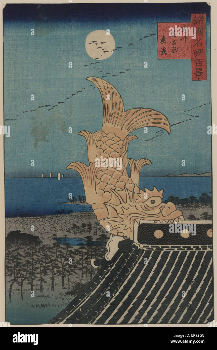 View of BishUNagoya. Print shows a carved fish as an architectural feature on the peak of the roof. Date 1859 or - Stock Image