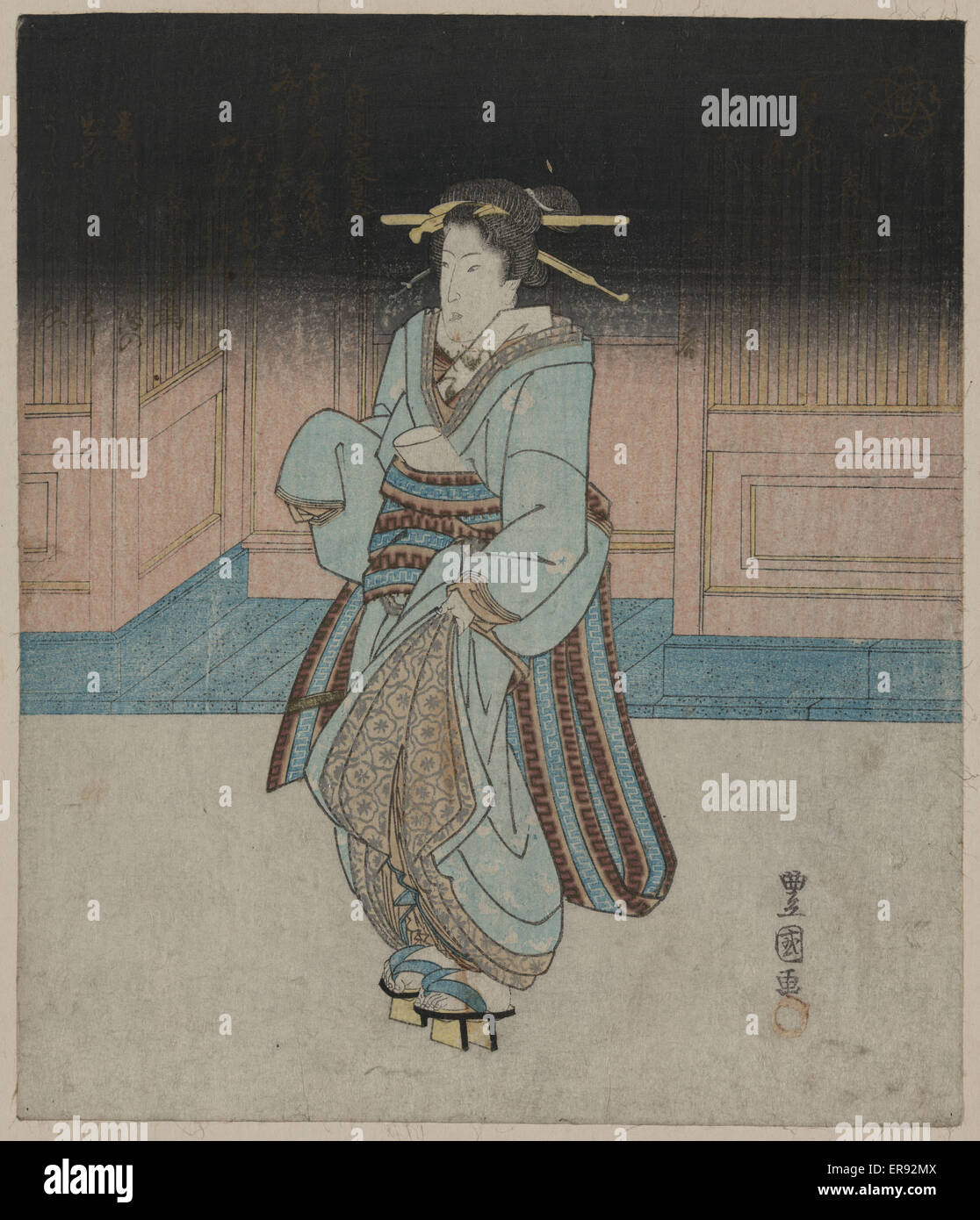 A geisha on an evening stroll in Fukagawa. Date between 1828 and 1833. - Stock Image