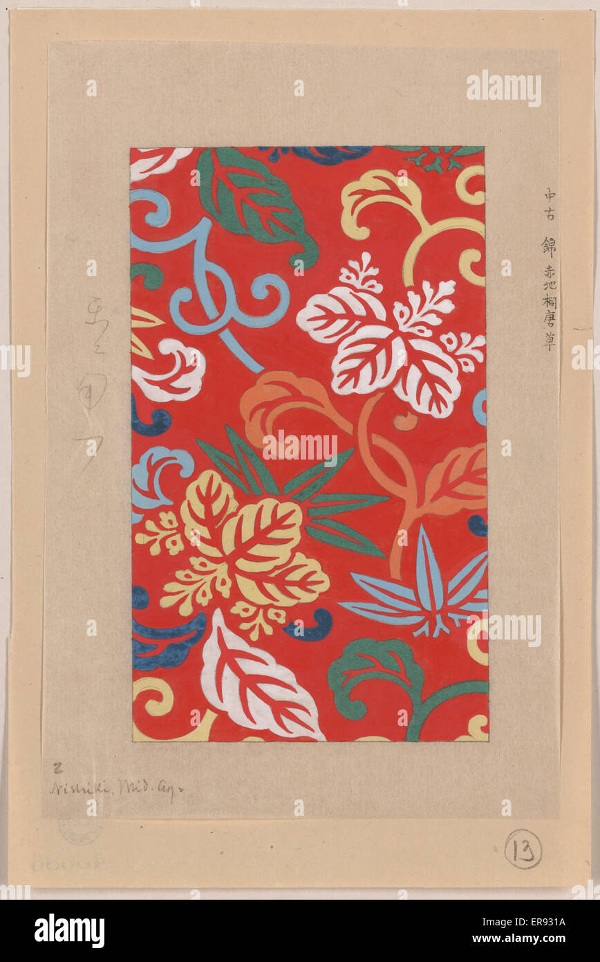 Nishike brocade with paulownia arabesque, with red background. Drawing shows bright floral, leaf, and vine designs - Stock Image
