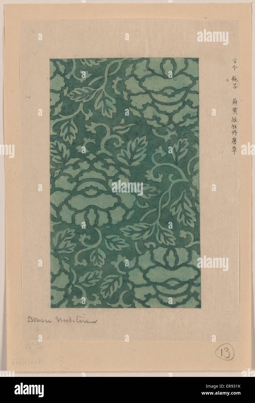 Donsu, damask with light green peony arabesque. Drawing shows peony arabesque design for kimonos. Date between ca. - Stock Image