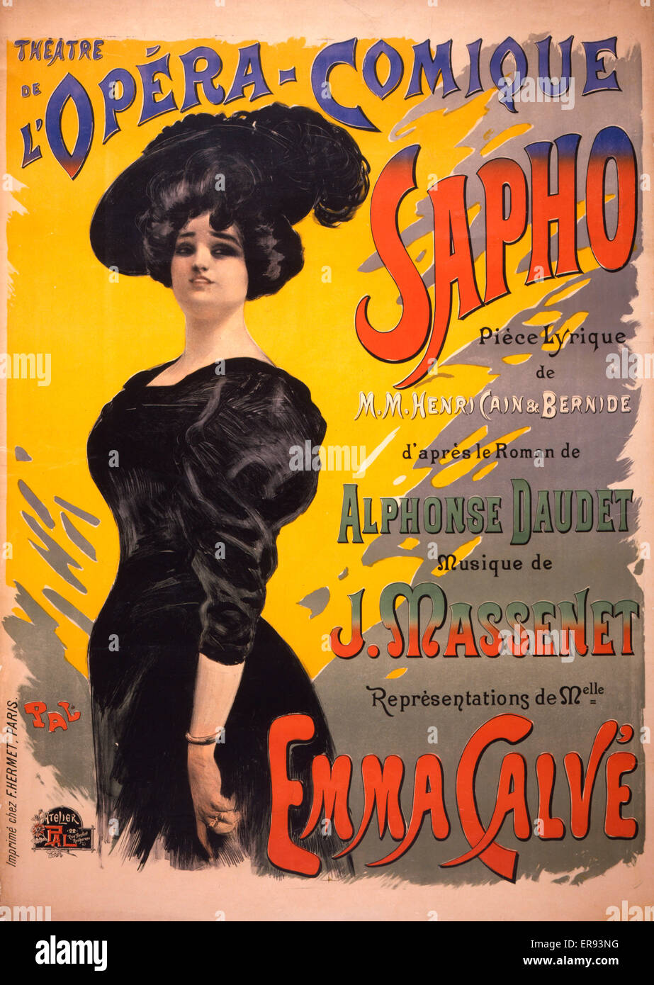 Sapho: Theatre de l'Opera-Comique . Performing arts poster for a performance of a comic opera by Henri Cain - Stock Image