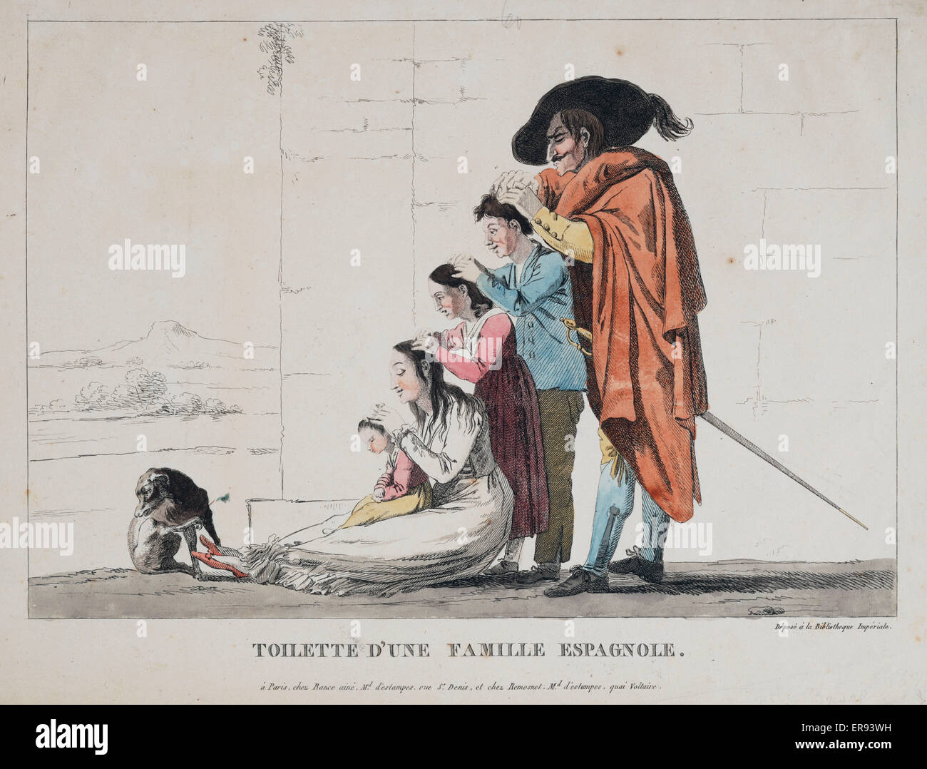 Toilette d'une famille Espagnole. Print shows a Spanish family standing and sitting one in front of the other, - Stock Image