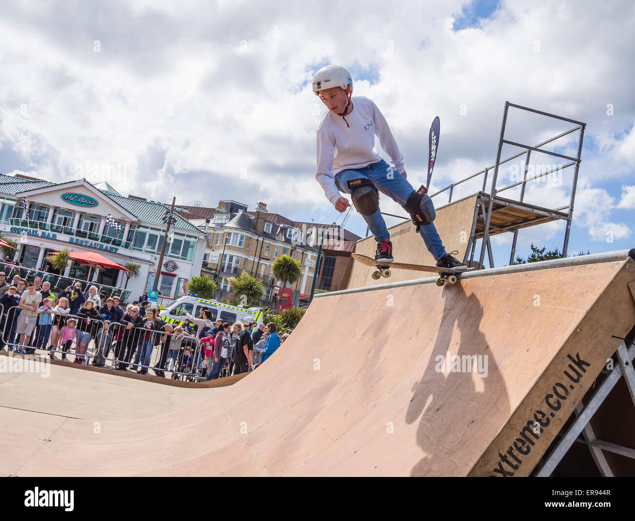 Skateboarder showing off his skills on a special purpose deck at the Wheels Festival in Bournemouth, Dorset, England, Stock Photo