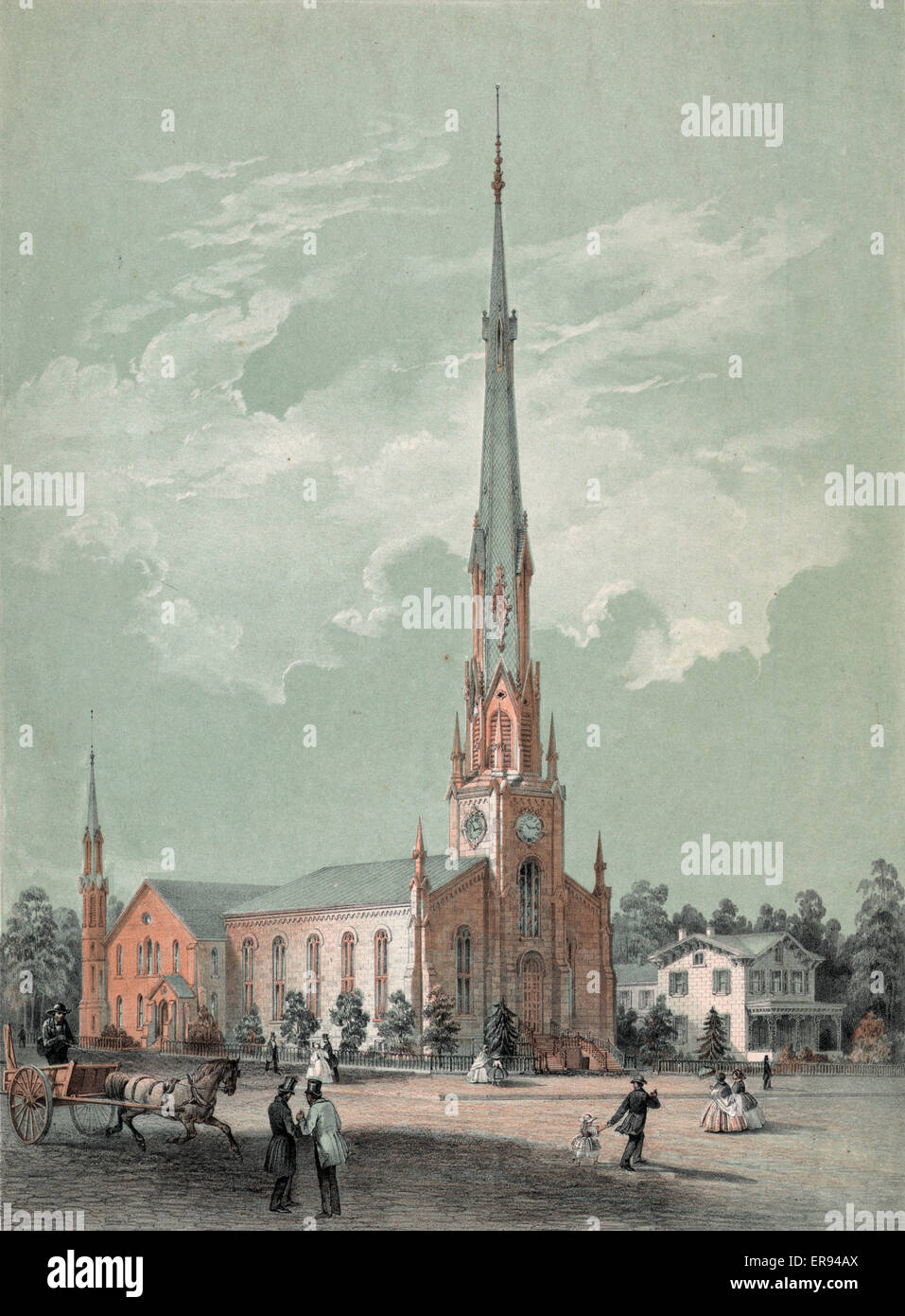 Christ Church, Germantown, Phila. Print shows an exterior view from the street of Christ Church, with pedestrians - Stock Image
