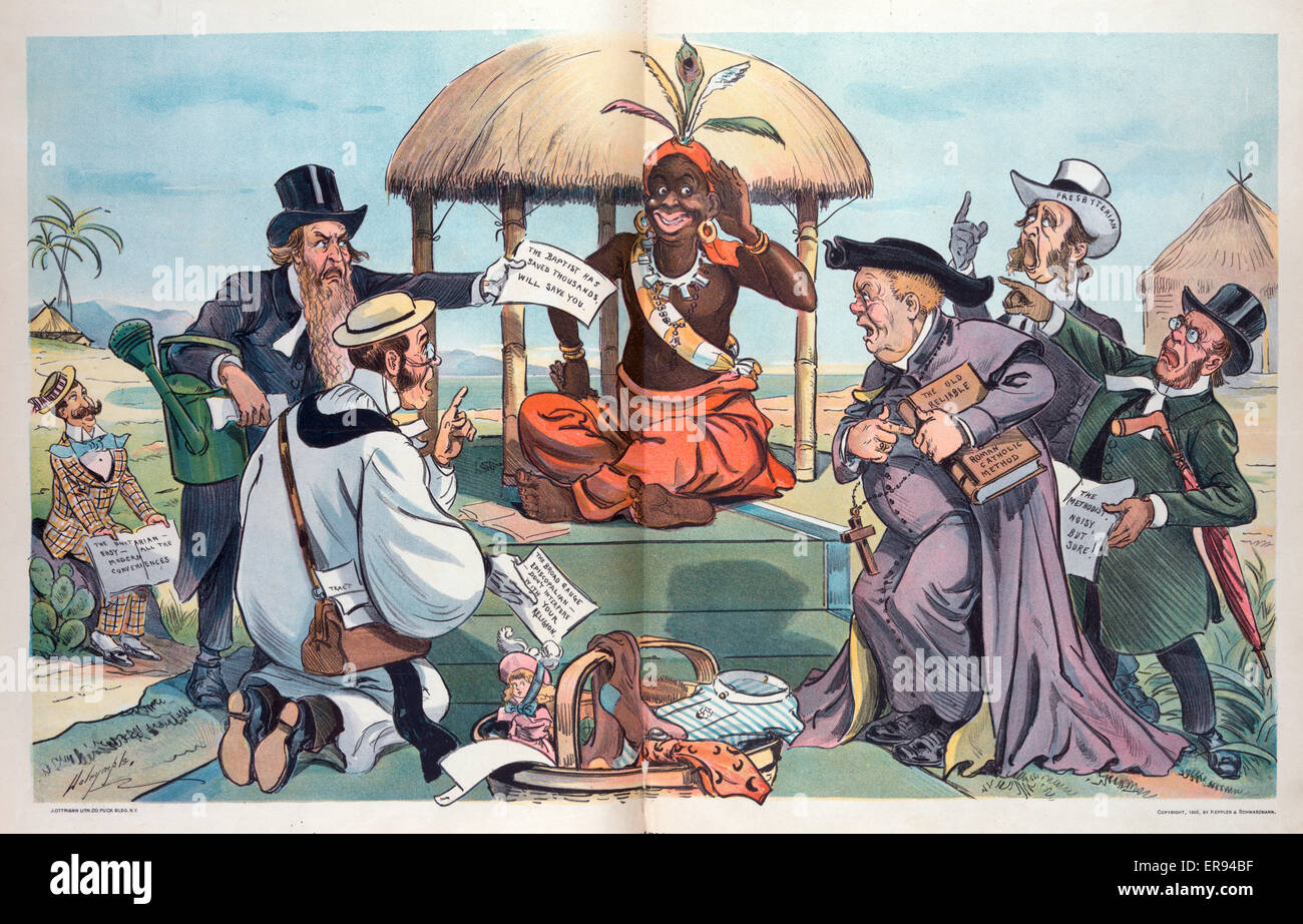 Our foreign missions; - an embarrassment of riches for the heathen. Illustration showing missionaries from various - Stock Image