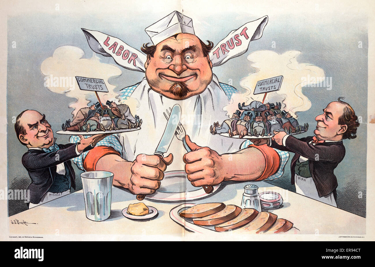 The promised feast. Illustration shows President William McKinley, on the left, offering up a steaming plate of Stock Photo