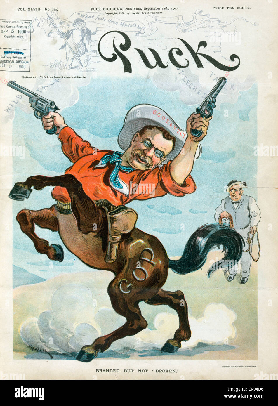 Branded but not broken. Illustration shows Theodore Roosevelt as a wild centaur or bucking bronco firing two handguns - Stock Image