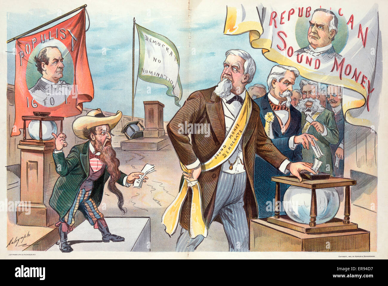 The vote of the gold democrats; - their country's welfare before their party's welfare. Illustration shows - Stock Image