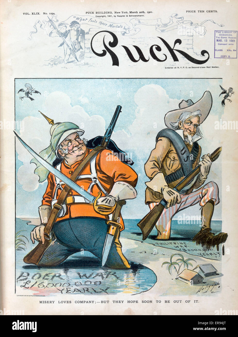 Misery loves company; - but they hope soon to be out of it. Illustration shows John Bull standing up to his knees - Stock Image