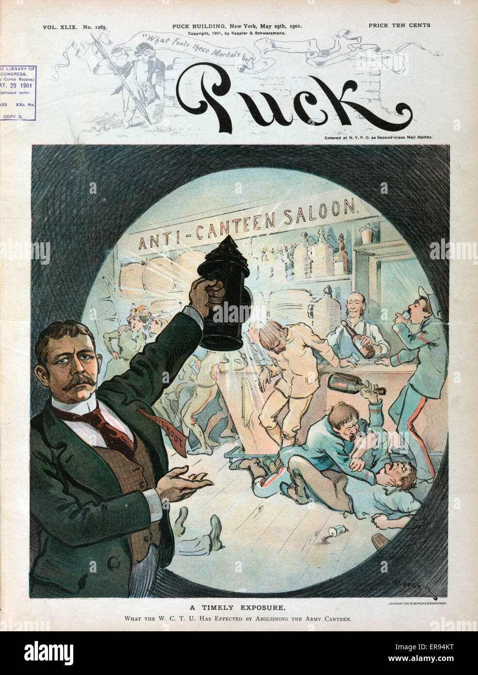 A timely exposure. Illustration shows Secretary of War Elihu Root holding up a lantern to illuminate a scene in - Stock Image