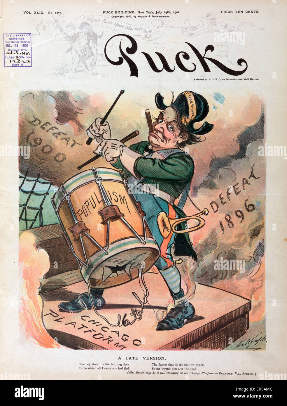 A late version. Illustration shows William Jennings Bryan playing a drum labeled Populism while standing on a hatch - Stock Image