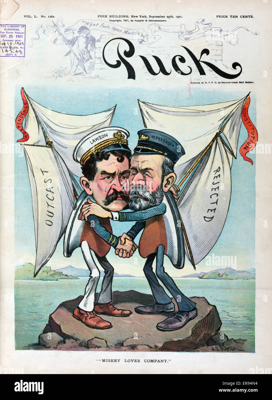 Misery loves company. Illustration shows Thomas W. Lawson with his America's Cup entry Independence and Nathanael - Stock Image