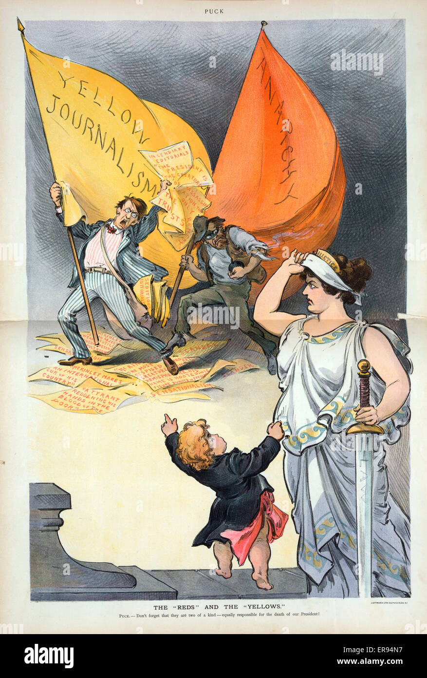 The reds and the yellows. Illustration shows Puck pointing at two men and tugging at the robe of Justice who is - Stock Image
