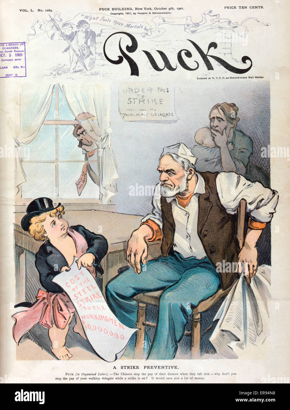A strike preventive. Illustration shows Puck talking to a laborer who is sitting at home, on strike; Puck shows - Stock Image