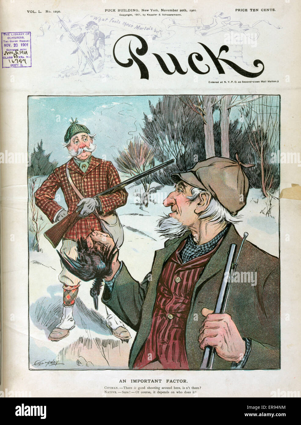 An important factor. Illustration shows a local hunter in the foreground and a visiting hunter from the city in - Stock Image
