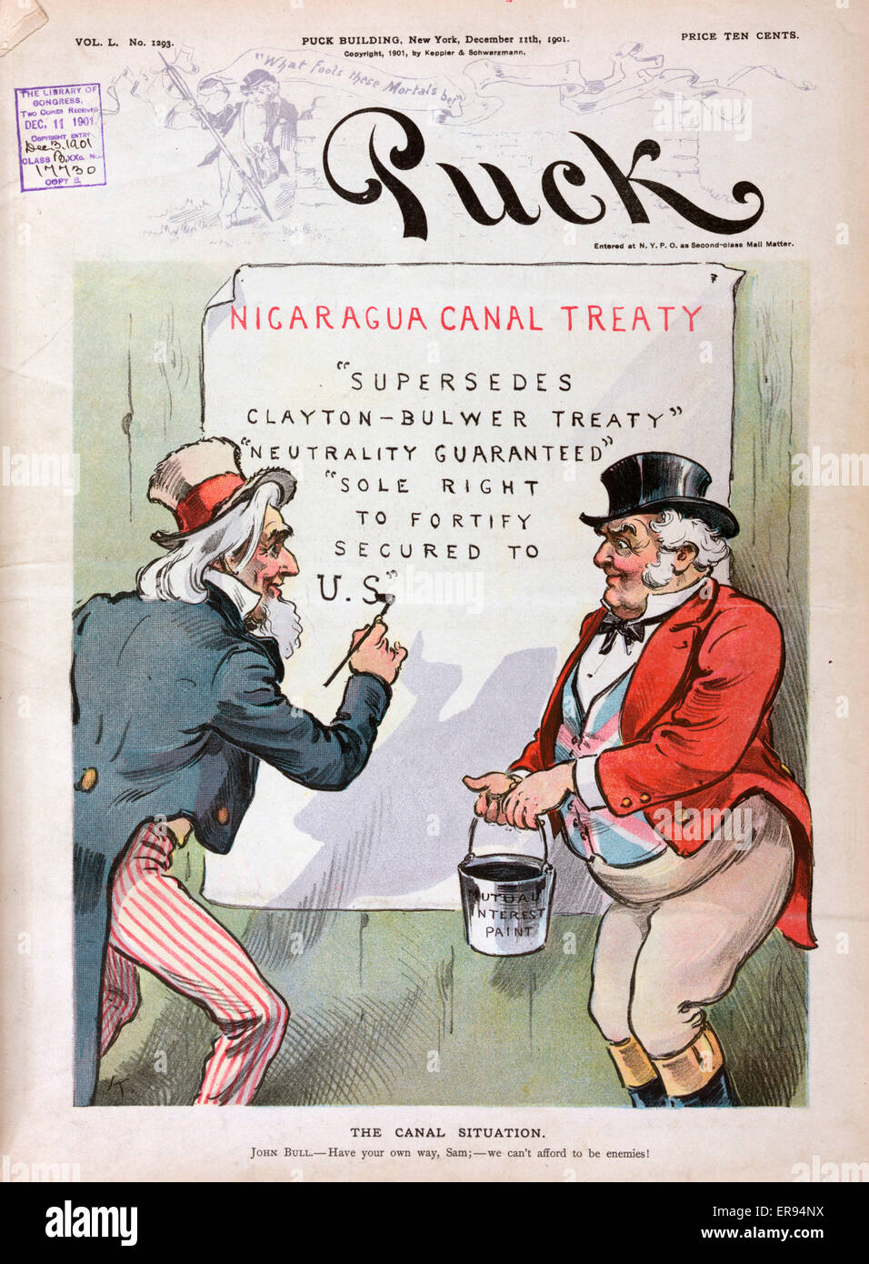 The canal situation. Illustration shows Uncle Sam with paint brush and John Bull, holding a bucket of Mutual Interest - Stock Image