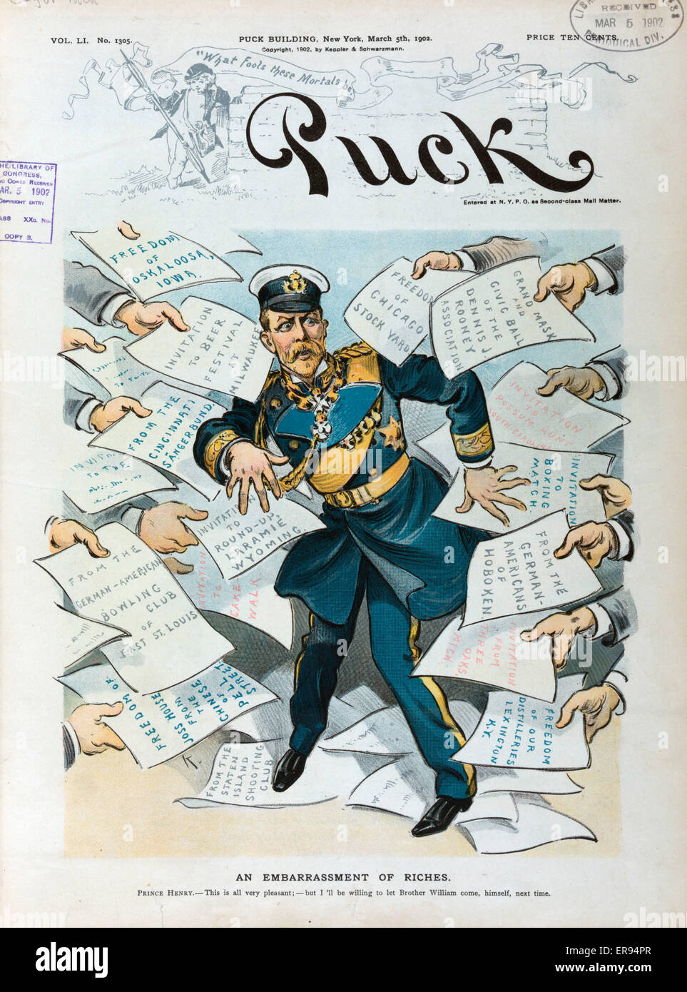 An embarrassment of riches. Illustration shows Prince Henry overwhelmed by invitations to attend events around the - Stock Image