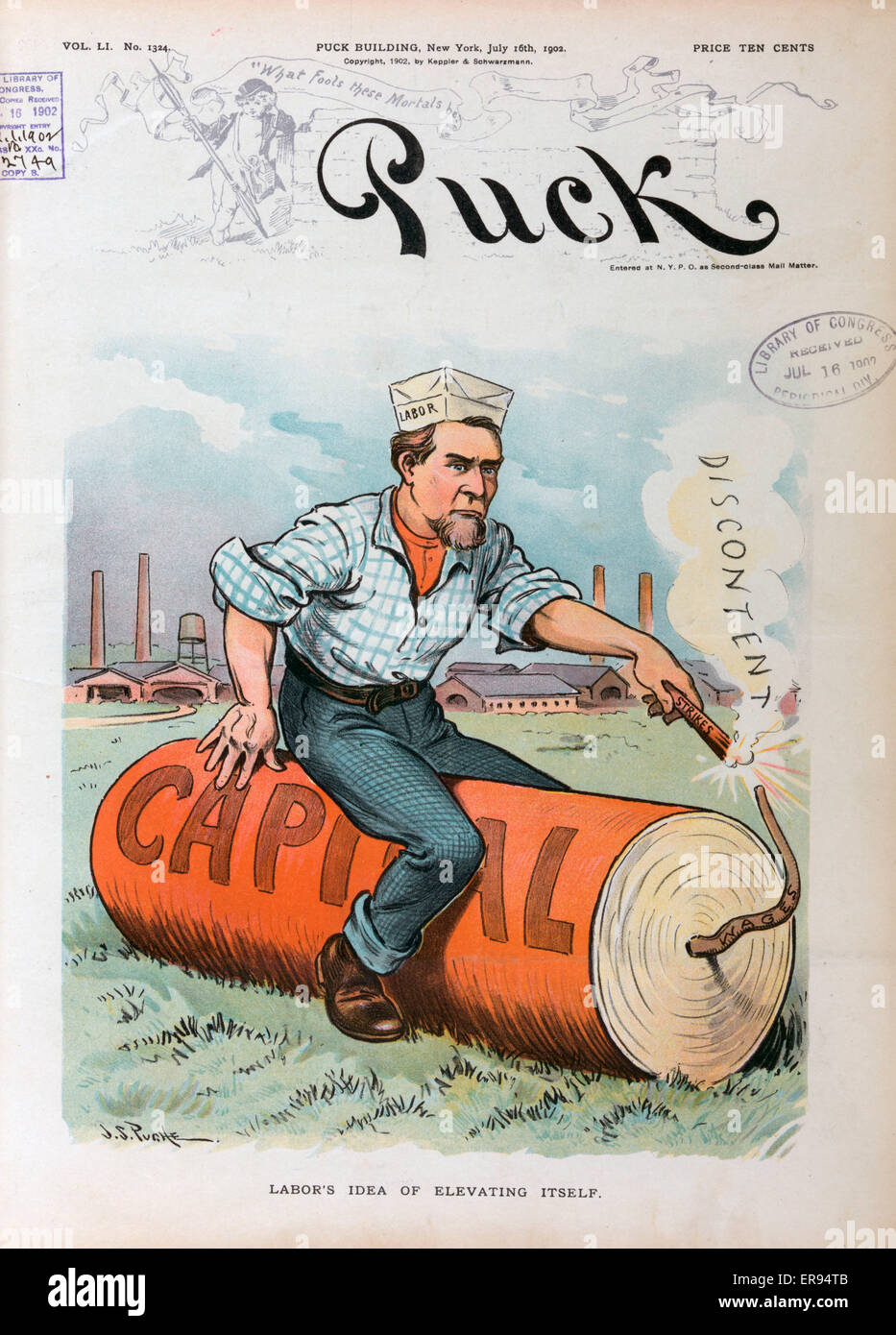 Labor's idea of elevating itself. Illustration shows a man labeled Labor sitting on a huge firecracker labeled - Stock Image
